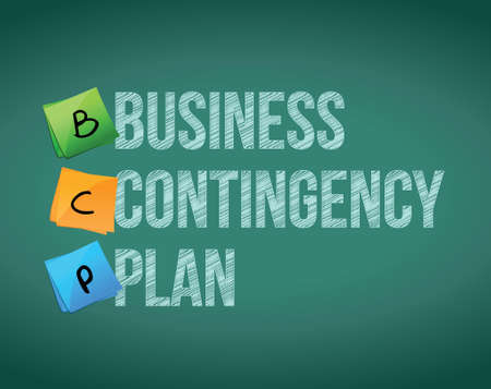 business contingency plan and post on a blackboard Vector