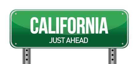 trafic: green California, USA street sign illustration design over white