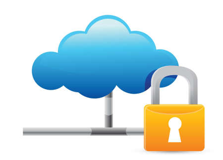 security monitor: Cloud Computing Icon with Protection illustration design over white