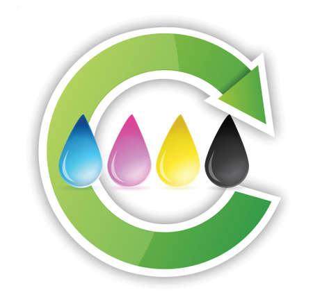 printers: cmyk inkjet ink drops recycle illustration design over white
