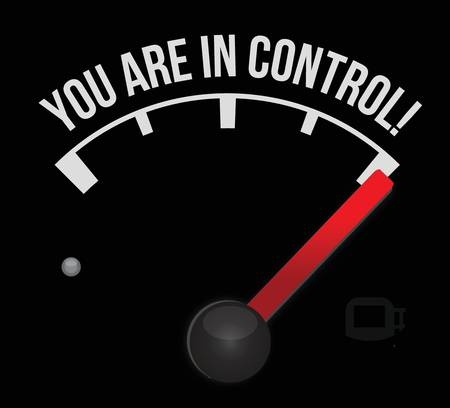 self confident: meter with the words Youre in Control illustration design