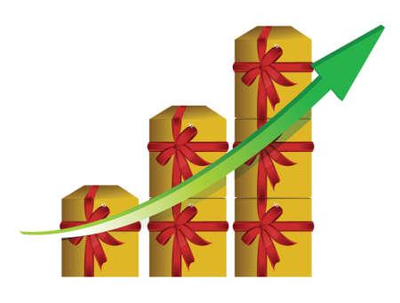 Gift graphic business graph illustration design over white Stock Vector - 17695359