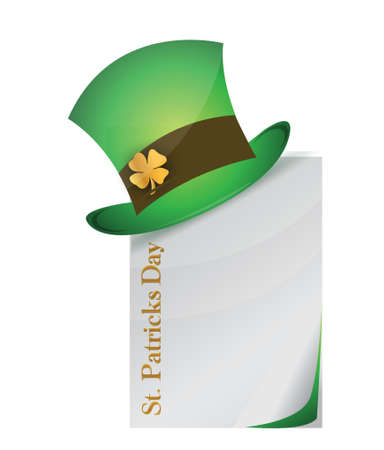 page and St. Patricks Day hat with clover illustration design Vector
