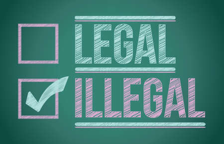 illicit: segno di spunta per la selezione di design illustrazione illegale nel corso di un consiglio Vettoriali