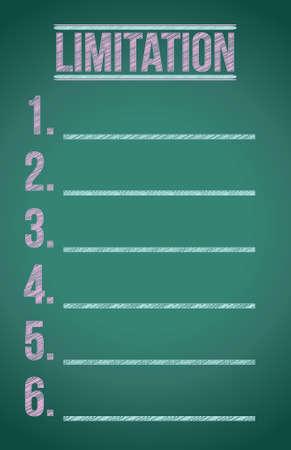 confine: limitation list illustration design over a dark chalkboard