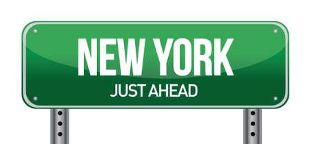 new york street: green New york, USA street sign illustration design over white