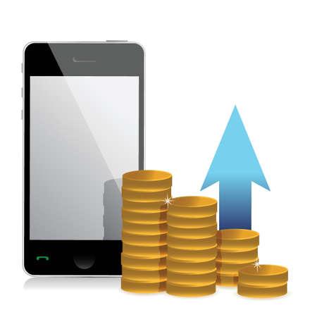 mobile phone and coins illustration design over a white background Illustration