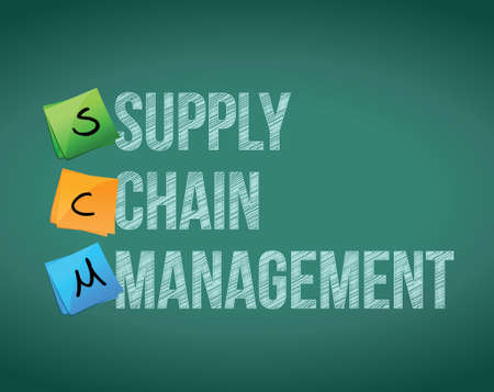 supply chain management concept illustration design on blackboard
