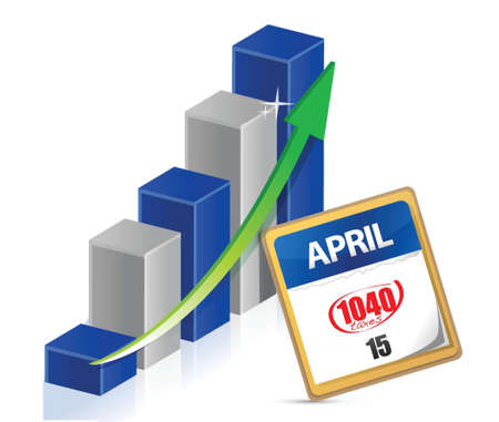 business graph and taxes april 15th on a calendar illustration