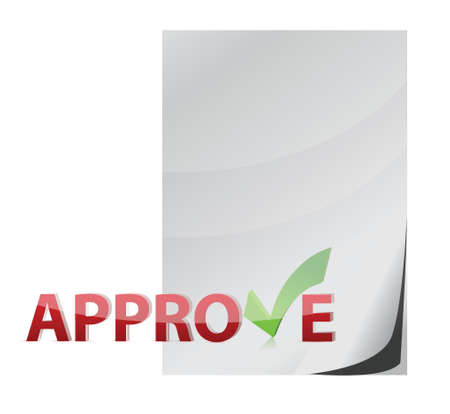 proceed: approve paper document check mark concept illustration design over white
