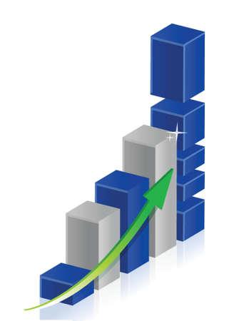 Steps to Business success graph illustration design over white Ilustração