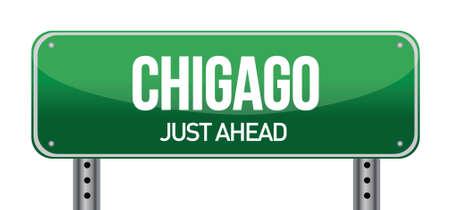 Cartello stradale di Chicago design illustrazione su bianco Archivio Fotografico - 17696032
