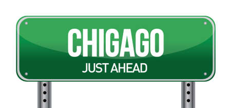 highway sign: Road sign to Chicago illustration design over white