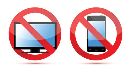no cell phone sign: No computer, no mobile or cell phone illustration design over white Illustration