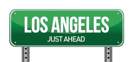 los angeles: Road sign Los Angeles, Illustration, Design �ber einem wei�en Hintergrund