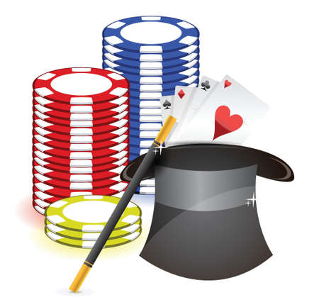 Magic hat , magic wand and casino props a on white background Stock Vector - 17696056