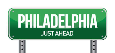 Road sign Philadelphia illustration design over a white background Stock Vector - 17696031