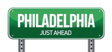 philadelphia: Road sign Philadelphia illustration design over a white background