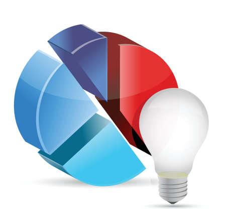 An image of a lightbulb with a 3d circle chart illustration Ilustração