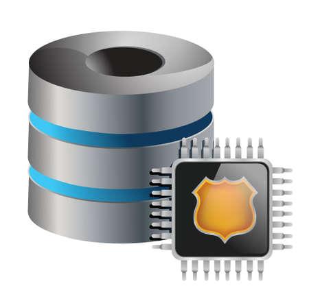 Computer servers chip illustration design over white background Illustration