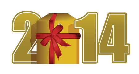 new year 2014 text and gift illustration design over white