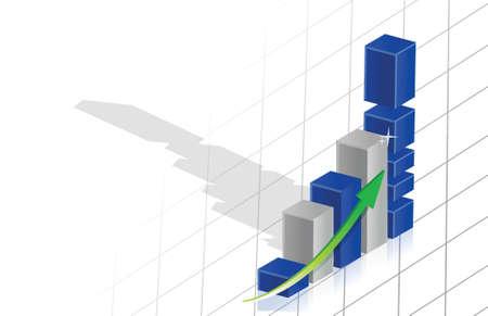 business graph 3d over grid illustration design over a white background Illustration