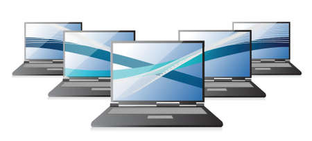 Set of laptops computers with waves, illustration design over white Vector