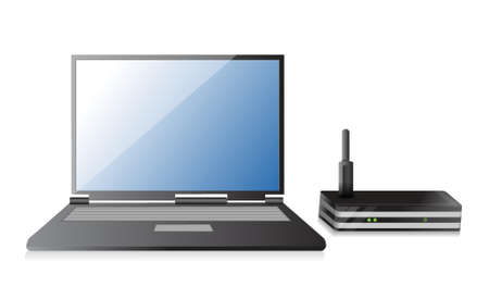 wlan: Wireless Router and laptop illustration design over a white background Illustration