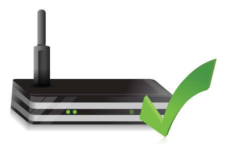 dsl: Wireless Router spunta design illustrazione su uno sfondo bianco Vettoriali