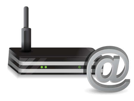 wireless internet: Wireless Router at sign internet illustration design over a white background