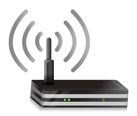 dsl: Illustrazione Router disegno connessione senza fili su uno sfondo bianco Vettoriali