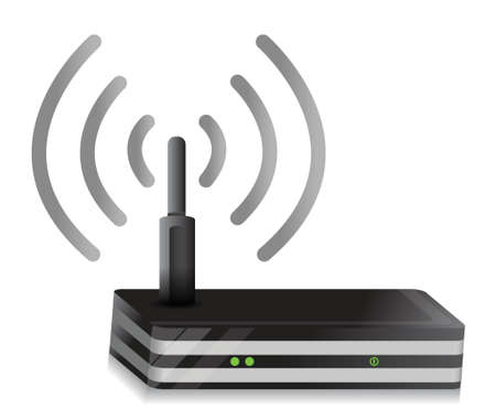 wireless lan: Wireless Router illustration  connection design over a white background Illustration