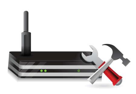 dsl: Router Wireless e strumenti di design illustrazione su uno sfondo bianco Vettoriali