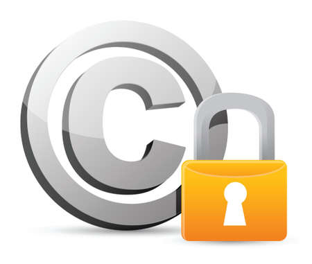 padlock icon: copyright with padlock protection illustration design over a white background Illustration