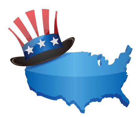US Top Hat  Uncle Sam and map - illustration design over a white background