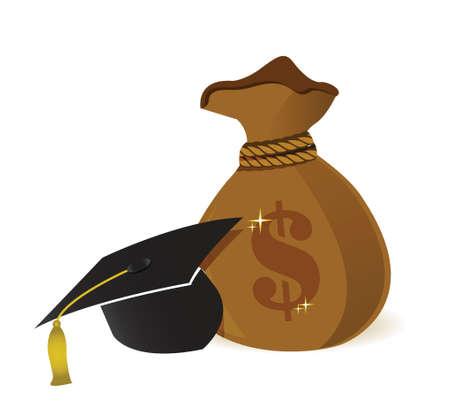 白お金袋教育帽子記号のイラスト デザイン