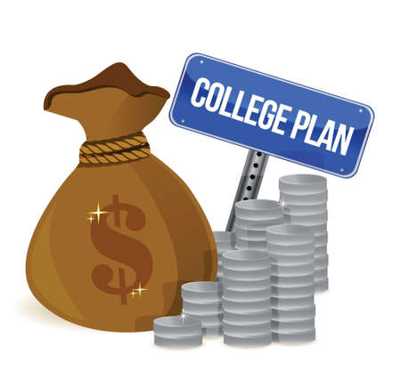 moneybag: money bags college plan sign illustration design over white