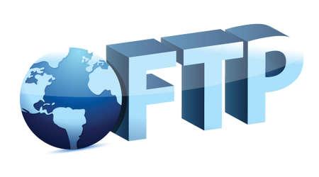 interchange: globe connected to FTP illustration design over white