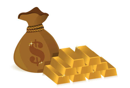 money bags and gold bars illustration design over white Stock Vector - 17823339