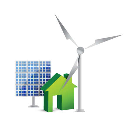 Biomass: house energy saving concept illustration design over white