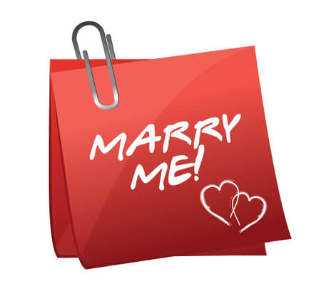 Marry Me written on a post it illustration design over a white background Stock Vector - 17823442
