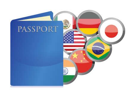 세계 일러스트 디자인의 여권과 국가의 개념