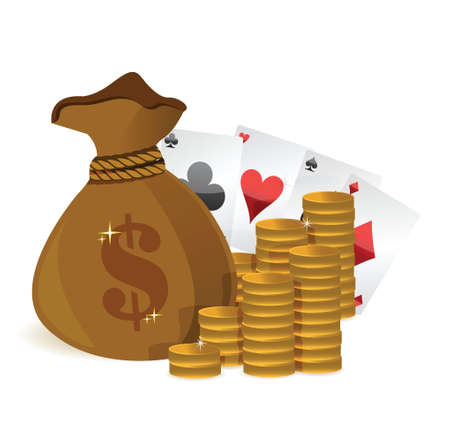 money bags casino profits illustration design over white Vector