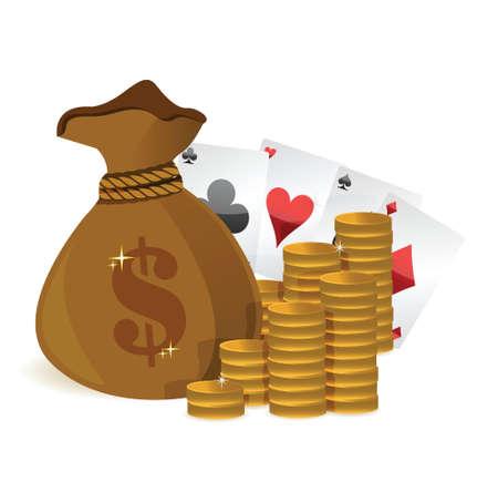 money bags casino profits illustration design over white Stock Vector - 17823503
