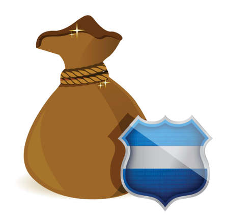 assured: bolsa de dinero est� protegida por un escudo dise�o ilustraci�n m�s de blanco