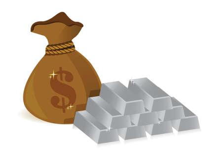 money bags and silver bars illustration design over white Stock Illustratie