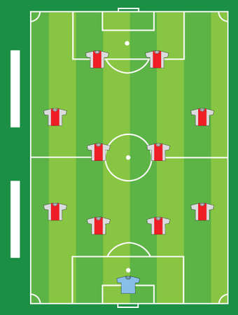 Terrain de football �quipe de conception d'illustration de la carte graphique