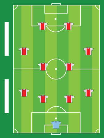 Voetbalveld team illustratie ontwerp grafische kaart Stock Illustratie