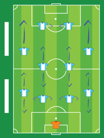 soccer pitch: Soccer field and game plays team illustration design graphic board