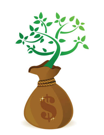 growing money: Money bag with fresh green plant growing from inside illustration design Illustration